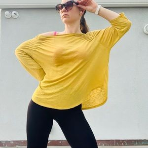 Free People Cinch Shoulder Oversized Yellow Mustard Top